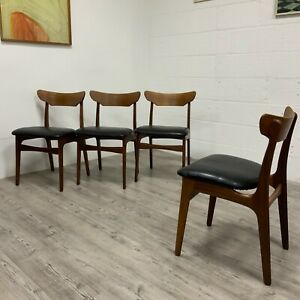 4 Mid Century Danish Teak Dining Chairs By Schionnig Elgaard for Randers
