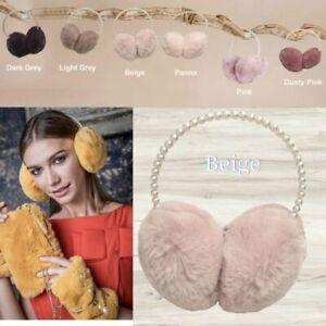 Alex Max Premium Luxurious Pearl Hairband Ear Muff - Beige