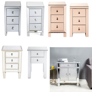 Mirrored Glass Bedside Table with Drawers Nightstand Chest Of Drawer Cabinet US
