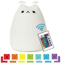 Cat Lamp, NeoJoy Remote Control Silicone Kitty Night Light for Kids White