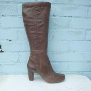 Ecco Leather Boots Size UK 6 Eur 39 Womens Ladies Shoes Brown Boots