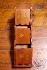 """Vintage Farmhouse Solid Lacquered Pine Letter Mail Bills Wall Organizer 21.5"""""""