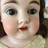 """25"""" Antique Kestner Bisque Doll Germany #154 12 DEP Beautiful Brunette w/ damage"""