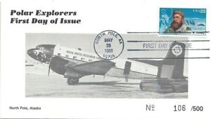 1986 North Pole Alaska FDC 22¢ Greely w Navy Arctic Research Lab Airplane Cachet