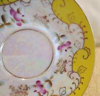 "Nippon Yoko Boeki Co. Iridescent Saucer Yellow Floral Pattern 5.25"" Gold Trim"
