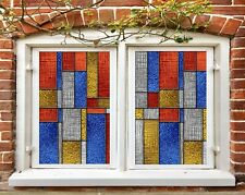 3D Blue Gold Red I593 Window Film Print Sticker Cling Stained Glass UV Block Amy