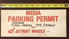 Rare 1974 Wfl Game Used Media Parking Permit Detroit Wheels Times Herald