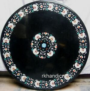 36 Inches Round Marble Dinette Table Top Inlay Work Coffee Table Royal Pattern