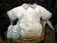 Will'beth Newborn Baby Boys Romper & Shoe Set Take Me Home Sz 0 NWT Dolls Reborn
