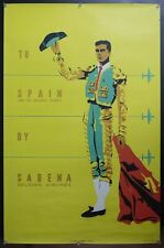 c.1955 To Spain And Balearic Islands By Sabena Vintage Airline Poster ORIGINAL