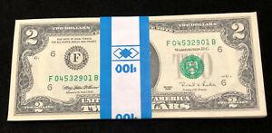 1995 original strap FIFTY $2 bills ($100) - consecutive serial numbers CRISP UNC