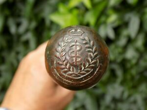 Vintage WW2 ROYAL ARMY MEDICAL CORPS RAMC Ball Top Swagger Stick / Cane