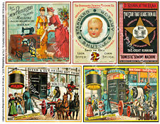 SEWING THREAD, VICTORIAN ERA ADVERTISING CARD Stickers, 1 Sheet, 5 Collage Tags
