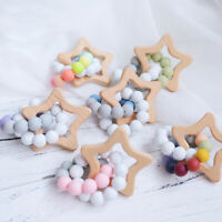 Baby Bracelet Food Grade Silicone Beads Teether Star Wooden Teething Chew Rattle