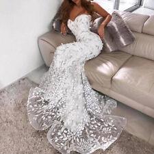 Women's Lace Mermaid Wedding Dresses Bridal Ball Gowns Trailing Long Maxi Dress