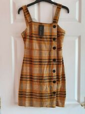 BNWT New Look Women's Mustard Check Tunic Dress Size 8 RRP £22.99