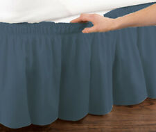 "BLUE Twin Size Elastic Ruffled Bed Skirt: Wrap Around Easy Fit, 14"" Drop"