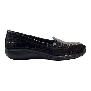 Clarks Womens Shoes Black Patent Leather Croc Designed Gael Feline Size 7.5 M