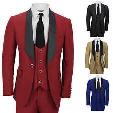 Mens 3 Piece Wedding Suit Shawl Lapel Slim Fit Dinner Jacket Waistcoat Trousers