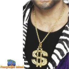 Dollar Sign Medallion Gold Chain Pimp Gangsta Rapper Mens Fancy Dress Accessory