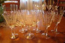 "6 Heather etch 6 1/2"" tall Water Goblets, Stems Line #6037 Marked Fostoria"