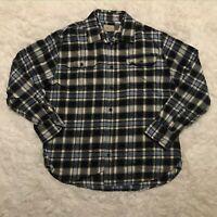 JACHS Mens Button Down Heavy Flannel Shirt Blue lumberjack Plaid large