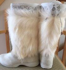 New In Box Women's Tecnica Polar 2 Fur Boots White Crystal Accents 8.0 39.5 EU