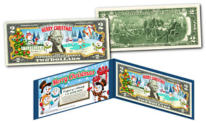 MERRY CHRISTMAS * SNOWMAN * XMAS OFFICIAL Genuine Legal Tender U.S. $2 Bill