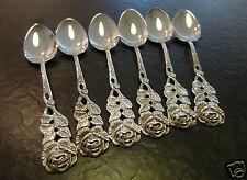 6 Moccalöffel Antiko 800er Silber Hildesheimer Rose Mokkalöffel 10,0 cm