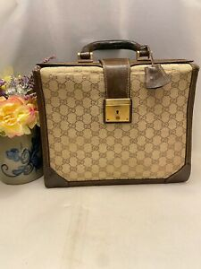Authentic Vintage Gucci Supreme Canvas  Leather Expandable Portfolio Case Briefc