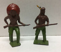 (66561) VINTAGE W. BRITAIN NATIVE AMERICAN INDIAN CHIEF & BRAVE  - LOT of 2