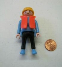 PLAYMOBIL Figure BLONDE-HAIRED WOMAN LADY MOM for Family in ORANGE LIFE VEST