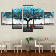 Abstract Blue Tree Scenery 5 Pieces canvas Wall Art Print Picture Home Decor