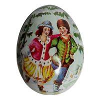 Vintage Easter Egg Swiss Made Ian Logan Tin Children Ice Skating Blue