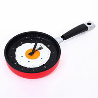 Wall Hanging Time Clock Pan Fried Egg Pan Decoration Home Living Room Kitchen BU