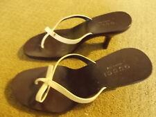 GUCCI White Straps Wooden Slide Sandal Heels Sz 7.5