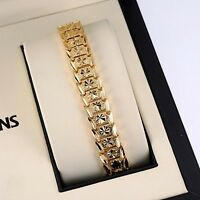 "Men's/Women's Bracelet 18K Yellow Gold Filled 7 3/4"" Chain Link Charm Jewelry"