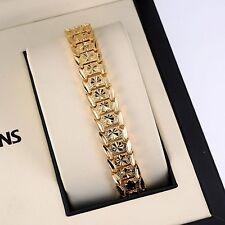 "18K Yellow Gold Filled Men's/Women's Bracelet 7 3/4"" Chain Link Charm Jewelry"