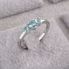 Wedding Jewelry Three Hearts Blue Topaz Love Ring Silver Plated
