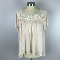 Chloe K Womens Small Cream Ivory Lace Short Sleeve Flowing Top