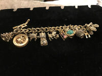 Vintage Monet Moveable Chunky Large Goldtone Bracelet 9 Charms Buddha Car Xmas