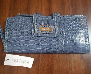 NEW! Women's Kenneth Cole Reaction Blue Snakeskin Tab Clutch Wristlet Wallet