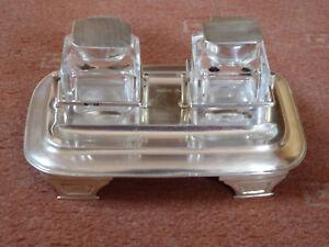 - Schreibtischgarnitur - Tintenzeug - ink - stand - Sheffield - Sterling Silber
