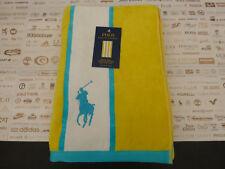 "POLO RALPH LAUREN Luxury Beach Towel 66""x35"" Yellow Aqua XXL Sheet BNWT RRP£60"