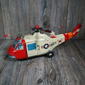 Vintage Metal Navy Helicopter Electronic Toy Light Up Japan WORKS