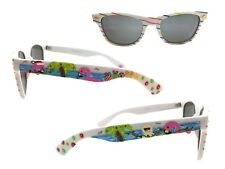 White Beach Christmas Sunglasses with Hand Painted Flamingo, Palm Tree, Snowman