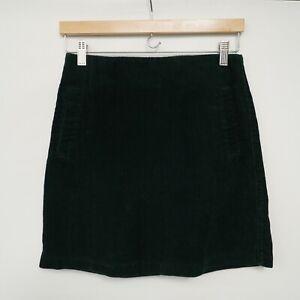 NEW LOOK Bottle Green Corduroy Mini Skirt - Size 8 / Zip at Rear