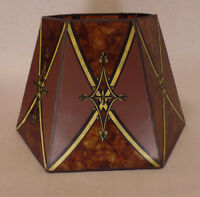 """7""""x12""""x7 1/2"""" Decorated Antique Amber Hexagon Style Mica Floor Lamp Shade MS703D"""