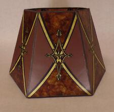 """7""""x12""""x7 1/2"""" Decorated Antique Amber Hexagon Style Mica Floor Lamp Shade"""