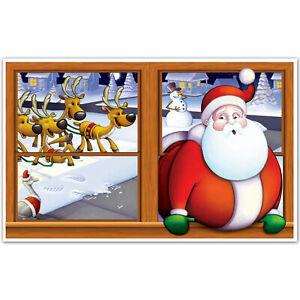 Merry Christmas Window Scene Setter Add-On Prop Decoration - Stuck Santa